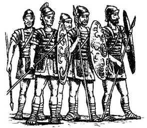 Римские легионеры, вооруженные копьями, короткими мечами